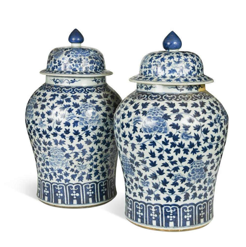 A pair of Chinese blue and white large vases and
