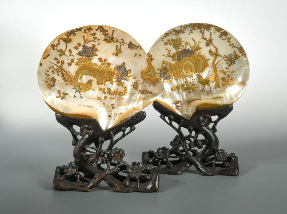A pair of Chinese mother of pearl export oyster shells