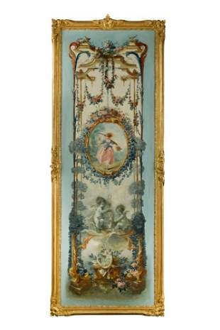 A set of five 20th century painted panels,