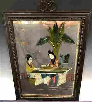 A pair of Chinese reverse glass paintings of