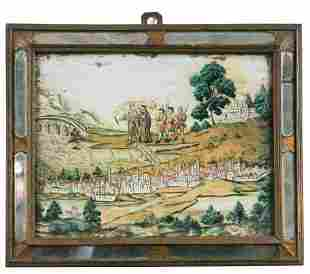 A pair of 19th century reverse glass paintings,