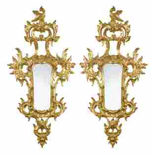 A pair of Florentine carved giltwood wall mirrors, 20th