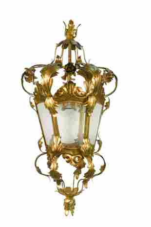 A contemporary Venetian gilt metal and glass hall