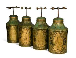 A set of four Regency toleware tea canisters,