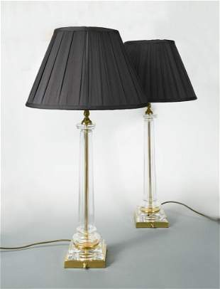 A pair of modern glass columnar table lamps,