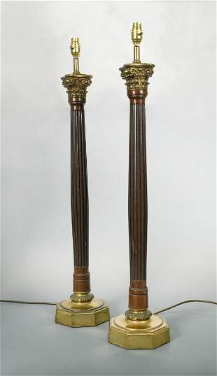 A pair of modern mahogany and brass mounted table