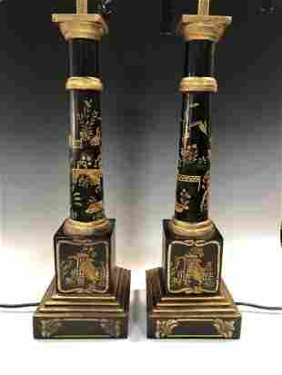 A pair of modern black lacquer table lamps,