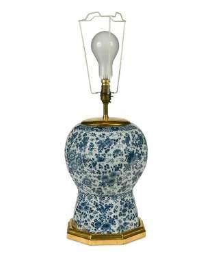 An 18th century Dutch Delft blue & white vase, now