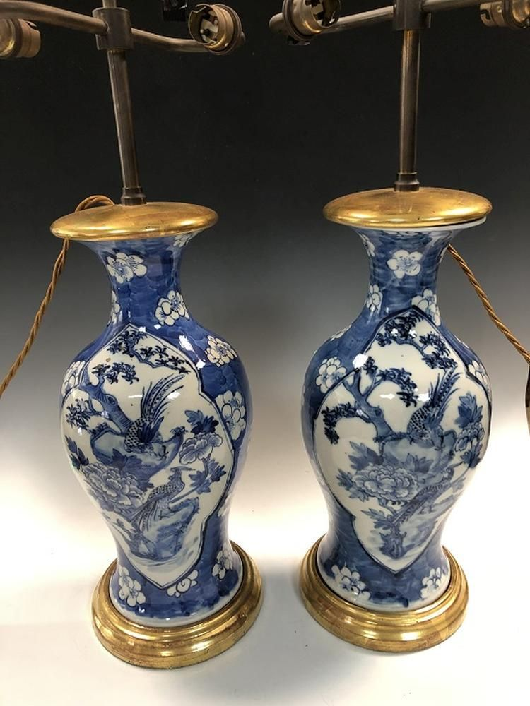 A pair of 19th century Chinese blue and white vases