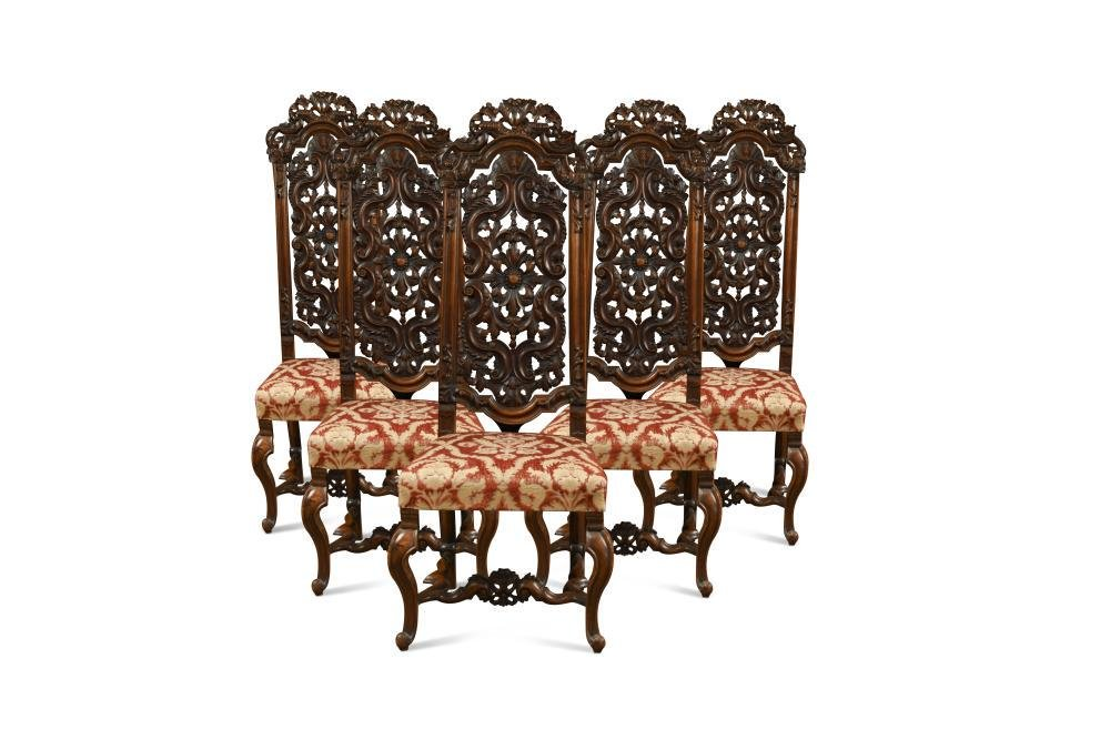 A set of six late 19th century Dutch walnut high back