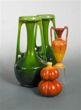 A large pair of Bretby Art Pottery twinhandled vases