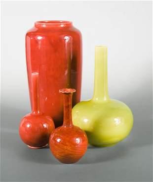 Four Burmantofts faience vases
