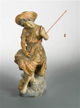 A Goldscheider terracotta model of a young girl