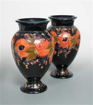 A particularly large pair of Moorcroft Pomegranate