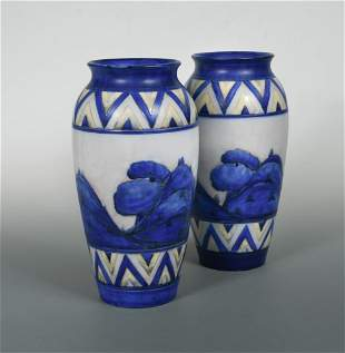 A pair of early Moorcroft Dawn Landscape pattern vases