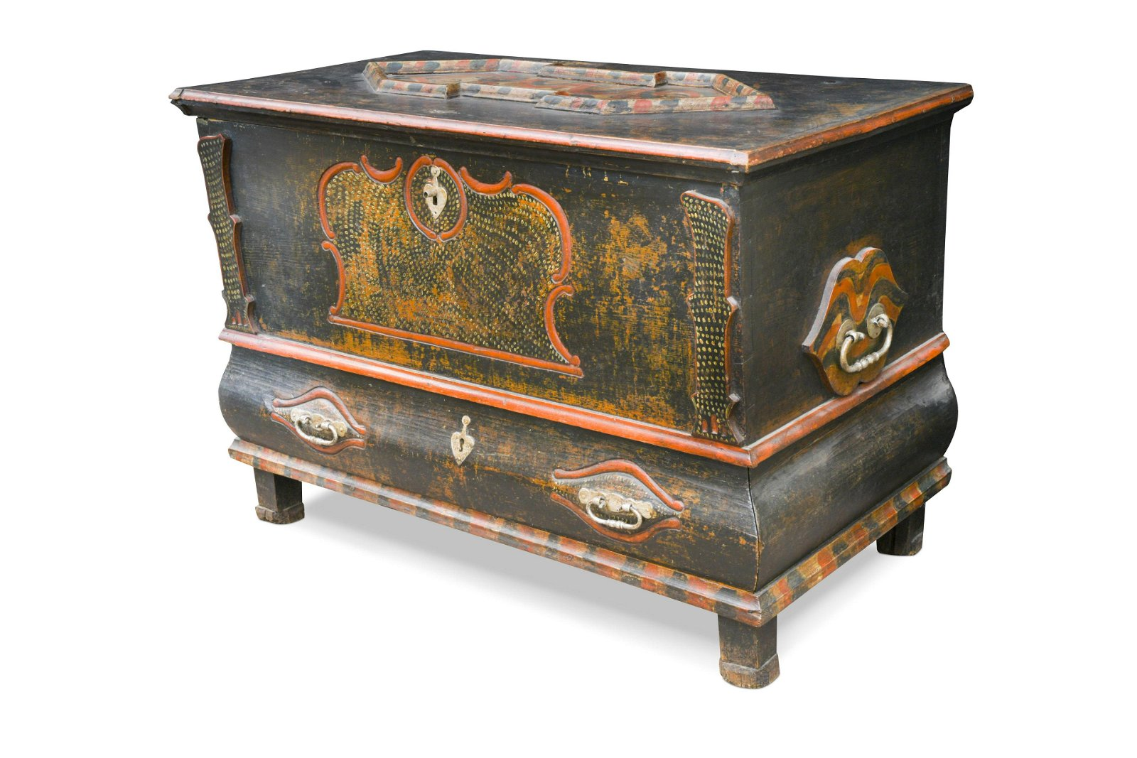 An Eastern painted pine mule chest