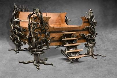 Steve Liddard, a custom built oak and steel bed,