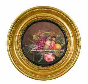 A pair of 19th century English porcelain circular