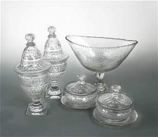 An early 19th century Irish glass pedestal bowl