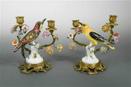 A pair of German porcelain and ormolu mounted