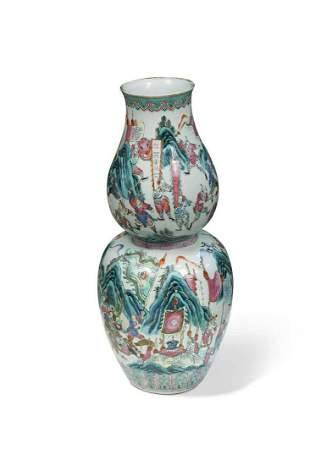 A Chinese porcelain double gourd vase late Qing