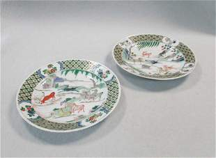 A Pair of Chinese famille verte porcelain plates Qing