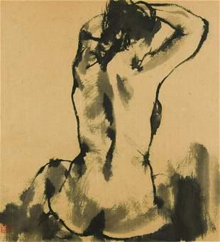 Qu Leilei Chinese 1951 Seated female nude
