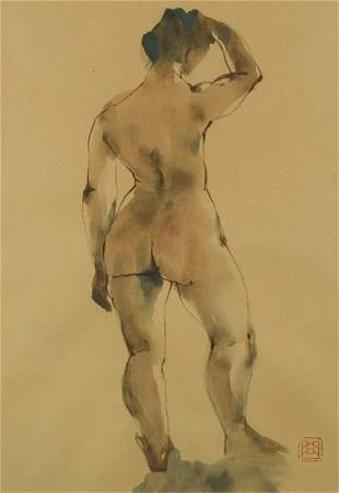 Qu Leilei Chinese 1951 Standing female nude