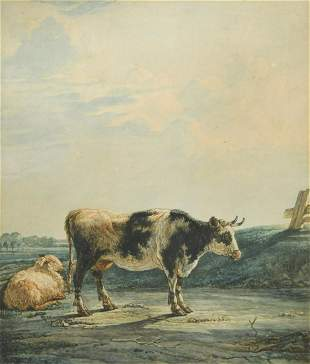 English School 18th Century Study of a cow with a