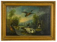 Marmaduke Cradock (1660-1717) Ducks by a lake; Poultry