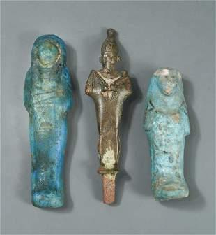 Two Egyptian blue glazed composite shaptis, Third