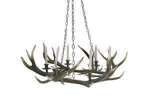 A stag antler chandelier,