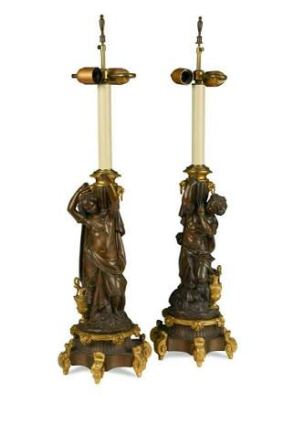 A pair of 19th century French bronze and ormolu lamps,