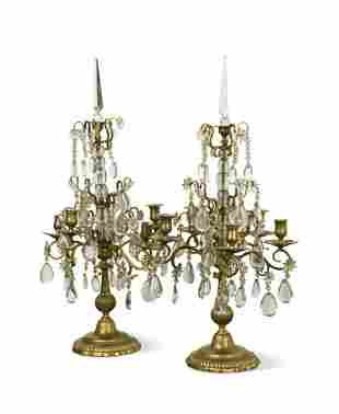 A pair of 19th century five light cut glass and brass