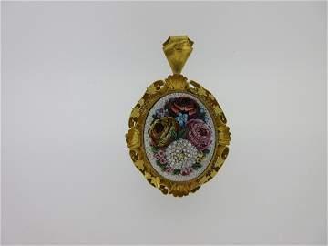 A 19th century micro mosaic pendant / brooch,