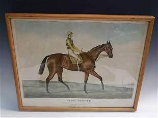 Three equestrian coloured prints,