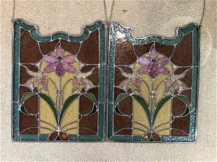A pair of Continental stained glass windows,