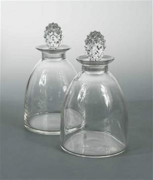 Cactus, a pair of R. Lalaique glass decanters and