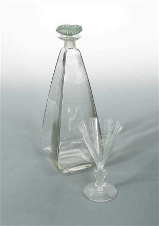 Pyramidale, an R. Lalique glass carafe,