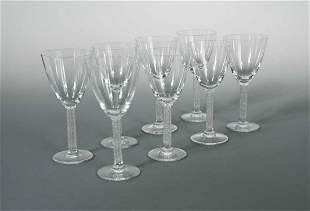 Phalsbourg, a set of eight Lalique wine glasses,