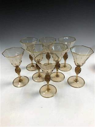 MVM Cappellin, Murano, a set of eight amber glass wine