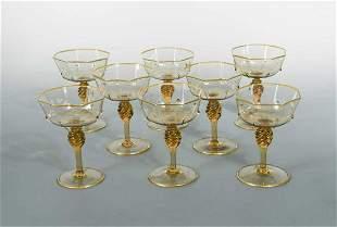 MVM Cappellin, Murano, a set of eight amber glass