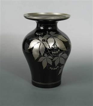 A Murano silver overlay glass vase, circa 1930,