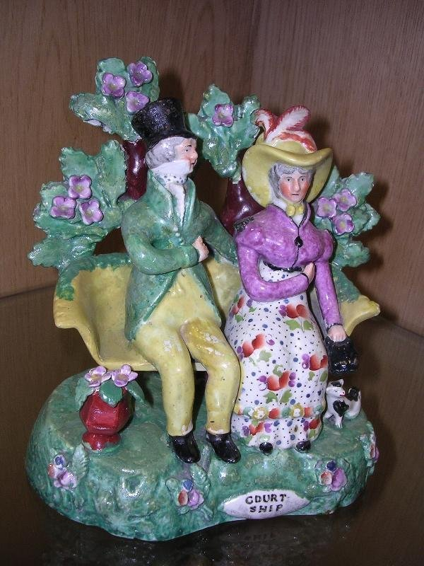 14: 'COURTSHIP', AN EARLY 19TH CENTURY STAFFORDSHIRE