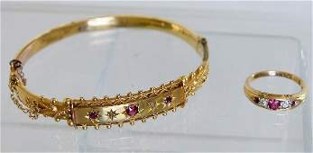 209 GOLD RUBY AND DIAMOND BRACELET AND RING