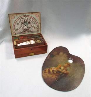 A Victorian Rowley Co mahogany paint box