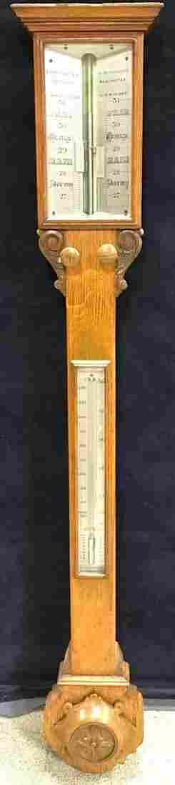 An oak stick barometer 19th century