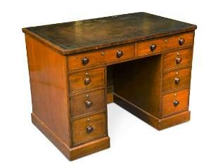 A Victorian mahogany twin pedestal desk