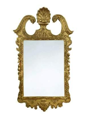 A George I gilt framed wall mirror
