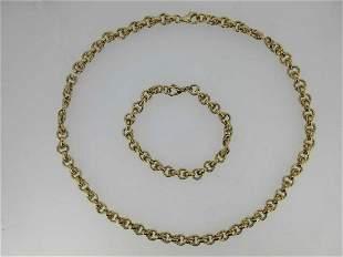 A 9ct gold fancy link necklace and bracelet suite,